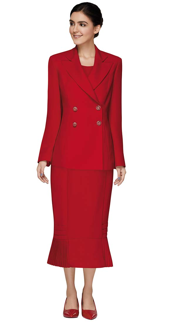 Nina Massini 3306 Pleated Flounce Skirt Suit With Double Breasted Jacket