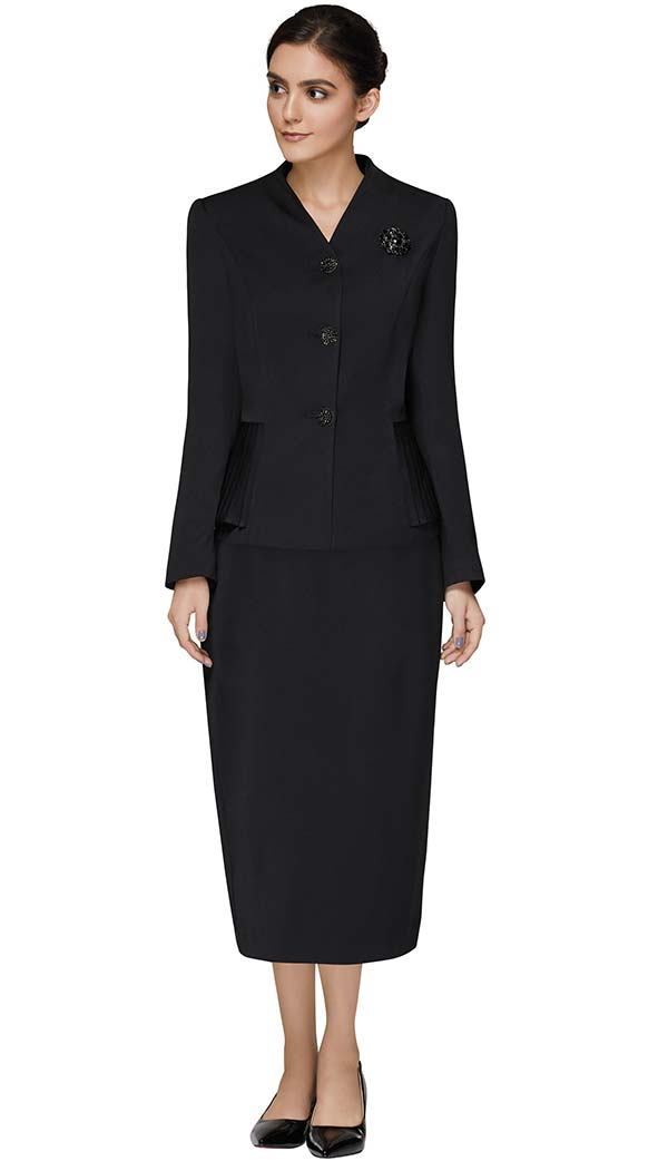 Nina Massini 3308 Skirt Suit With Collarless Pleated Detail Jacket