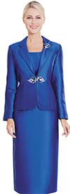Nina Massini 2368 Three Piece Womens Church Suit With Rounded Lapels
