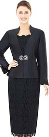 Nina Massini 2529 Three Piece Skirt Suit With Lace & Silky Twill Design