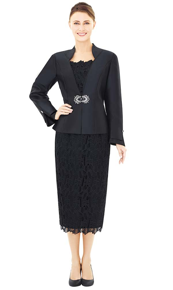 Nina Massini 2529 Three Piece Skirt Suit With Lace & Silky Twill Design