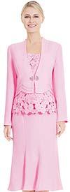 Nina Massini 2547 Three Piece Flared Skirt Suit With Spherical Design