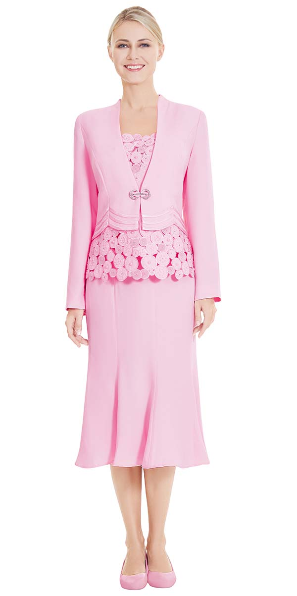 Nina Massini 2547 Three Piece Flared Skirt Suit With Spherical Design