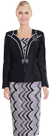Clearance Nina Massini 2550 Skirt Suit With Print Pattern & Contrast Trim Solid Jacket