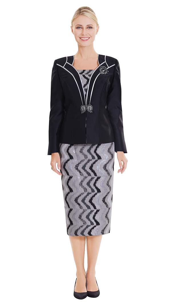 Nina Massini 2550 Skirt Suit With Print Pattern & Contrast Trim Solid Jacket