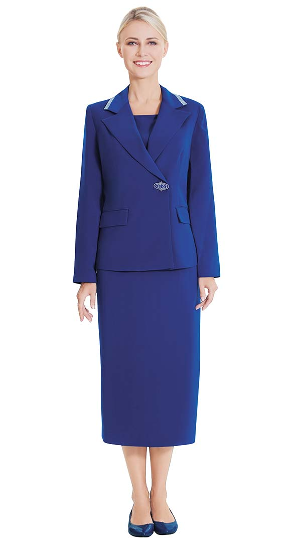 Nina Massini 2554 Skirt Suit With Wrap Style Jacket With Trimmed Notch Lapel
