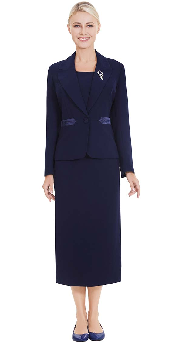 Nina Massini 2557 Three Piece Skirt Suit With Brooch