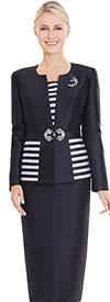 Nina Massini 2559 Skirt Suit With Striped Camisole & Jacket Insets