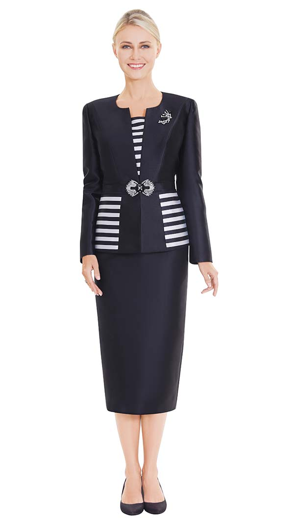 Nina Massini 2559 Skirt Suit With Striped Camisole & Jacket Insets