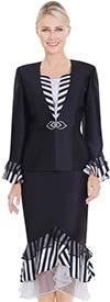 Nina Massini 2561 Womens Church Suit With Striped & Organza Layered Flounce Hem & Cuffs
