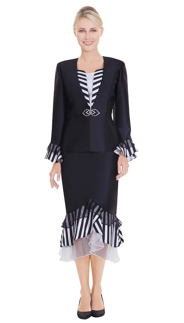 Nina Massini 2561 Womens Church Suit With Striped & Organza Layered Flounce Hem & Cuffs