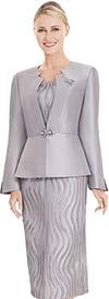 Nina Massini 2562 Womens Jagged Neckline Jacket & Textured Skirt Set