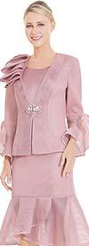 Nina Massini 2564 Womens Church Suit With Ruffled Mesh Flounce Hem & Cuffs