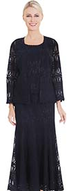 Nina Massini 2565 Three Piece Skirt Suit In Lace Fabric