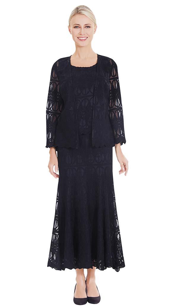 Nina Massini 2565 Three Piece Skirt Suit In Lace Fabric