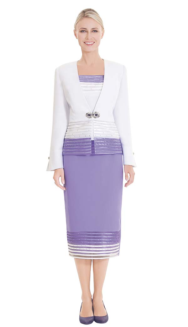 Nina Massini 2571 Skirt Suit With Horizontal Stripe Trim Design