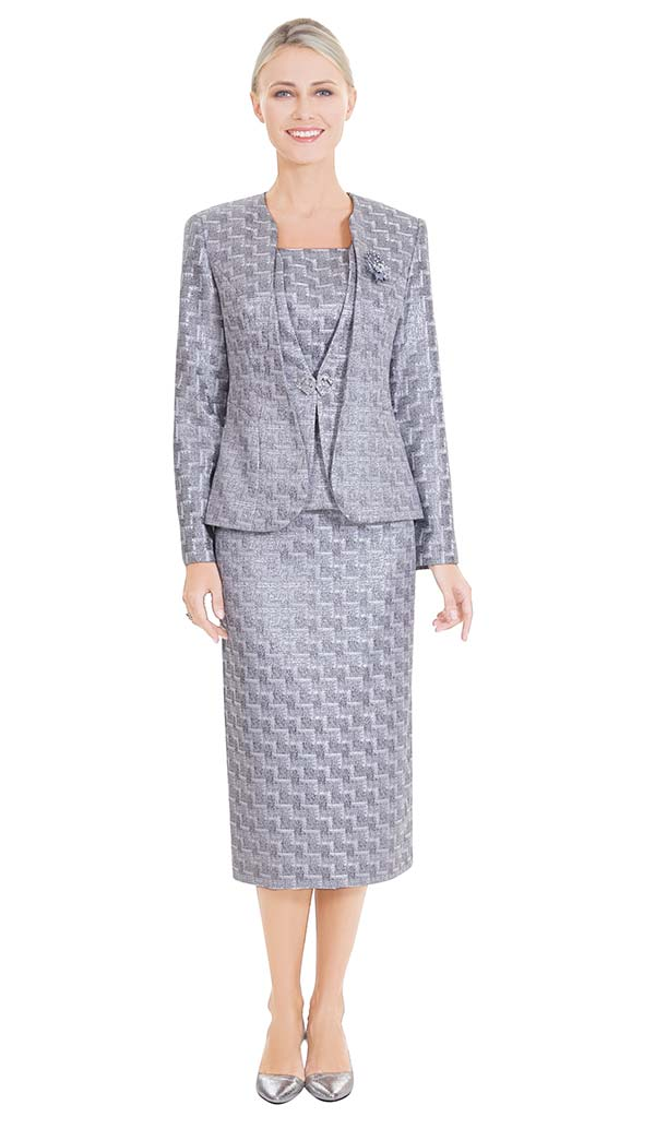 Nina Massini 2576 Womens Church Skirt Suit With Zig Zag Pattern & Layered Look Jacket