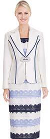Nina Massini 2577 Skirt Suit With Notch Lapel Jacket & Intricate Pattern Design