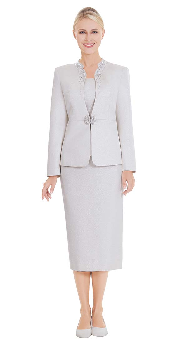 Nina Massini 2578 Womens Church Suit With Embellished Jacket Neckline