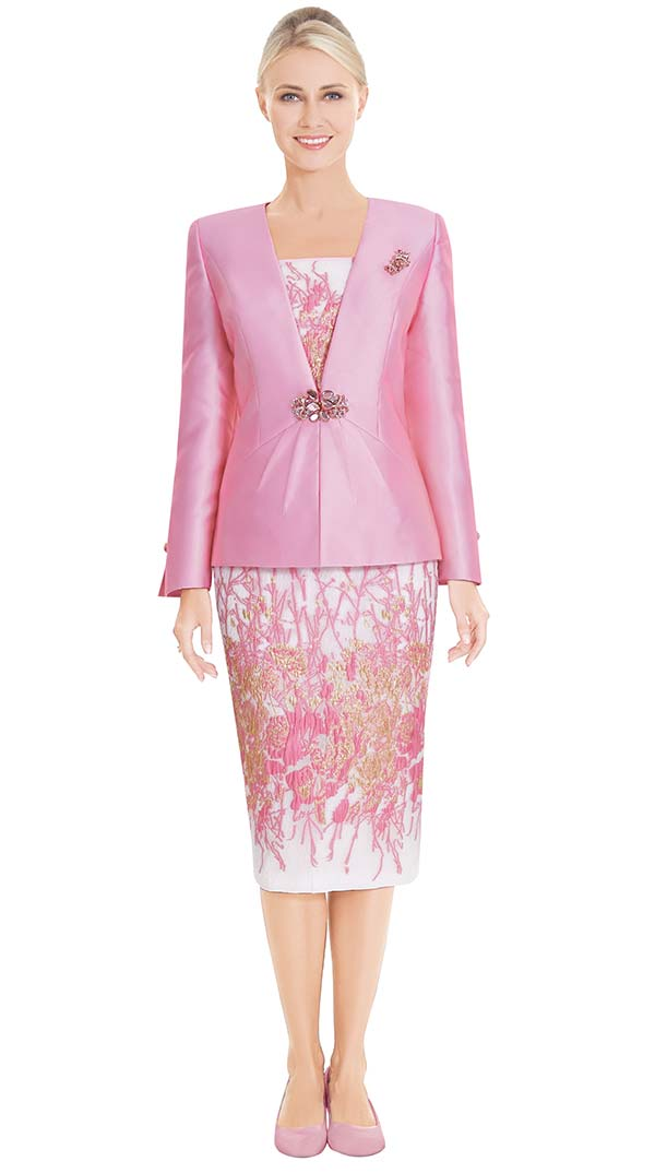 Nina Massini 2582 Womens Church Suit With Floral Design Skirt & Cami