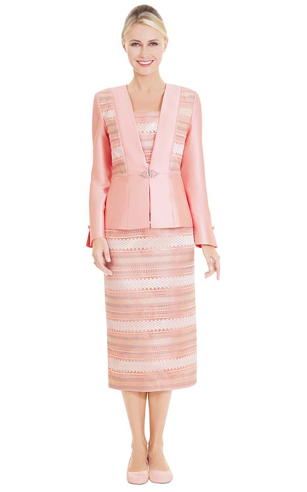 Nina Massini 2584 Church Suit With Multi Color Stripe Pattern Skirt & Jacket Insets