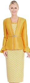 Nina Massini 2585 Skirt Suit With Print Pattern & Solid Bell Sleeve Jacket