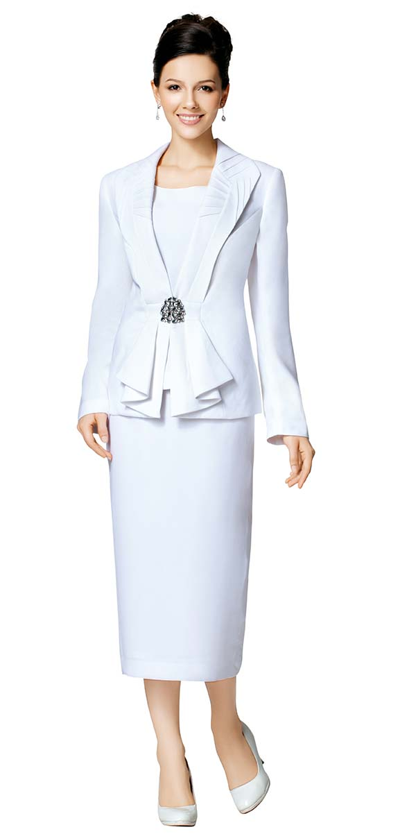 Nina Massini 5365 Three Piece Cascading Lapel Womens Skirt Suit