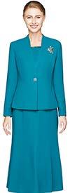 Nina Massini 1218S-Jade - Three Piece Basic Flared Skirt Suit