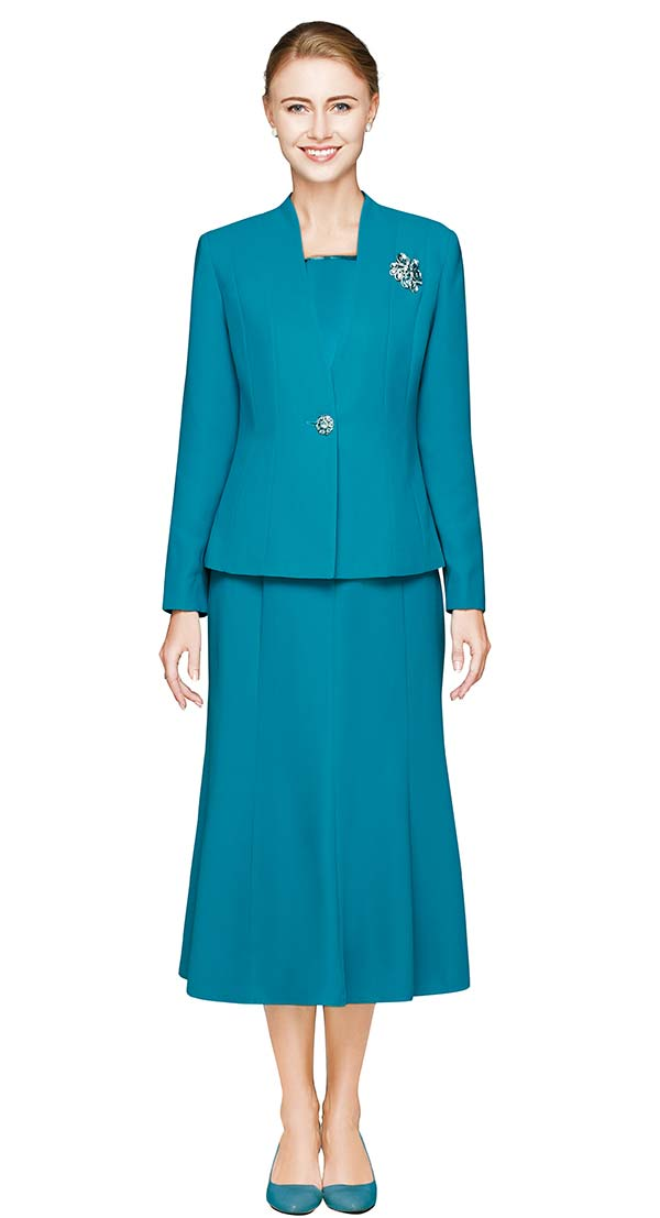 Nina Massini 1218S-Jade - Three Piece Basic Flared Skirt Suit