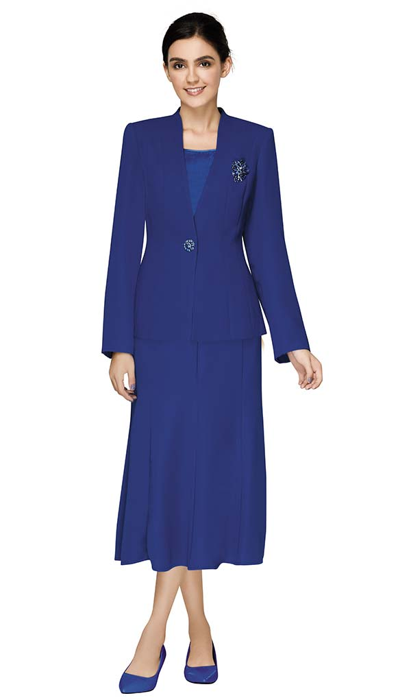 Nina Massini 1218S-Royal - Three Piece Basic Flared Skirt Suit