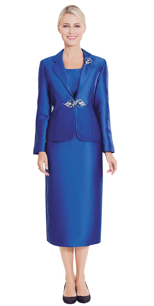 Nina Massini 2368-Royal - Three Piece Womens Church Suit With Rounded Lapels
