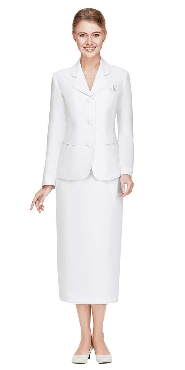 Nina Massini 2417-White Two Piece Basic Skirt Suit With Clover Style Lapel
