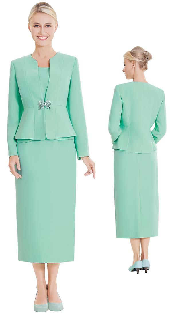 Nina Massini 2461-Sage - Three Piece Womens Basic Church Suit