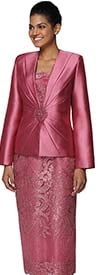 Nina Massini 2470 Womens Lace Skirt Suit With Silky Twill Jacket