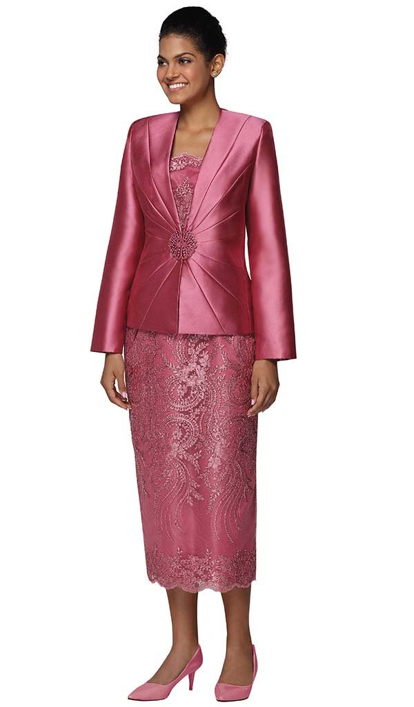 Nina Massini 2470 Womens Lace Skirt Suit With Silky Twill Jacket