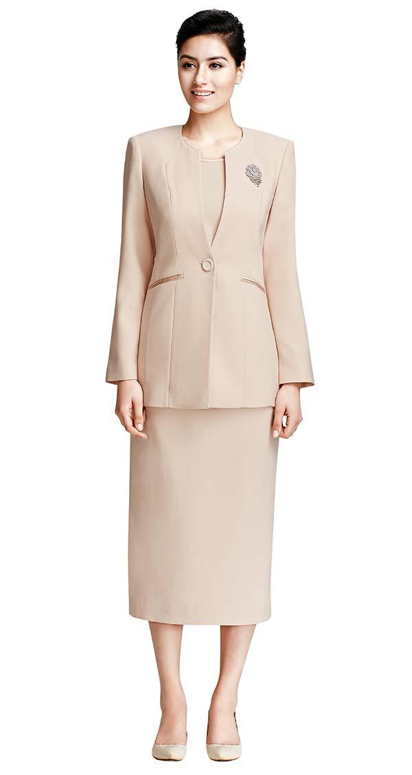 Nina Massini 3021-Champagne - Three Piece One Button Basic Jewel Neckline Skirt Suit