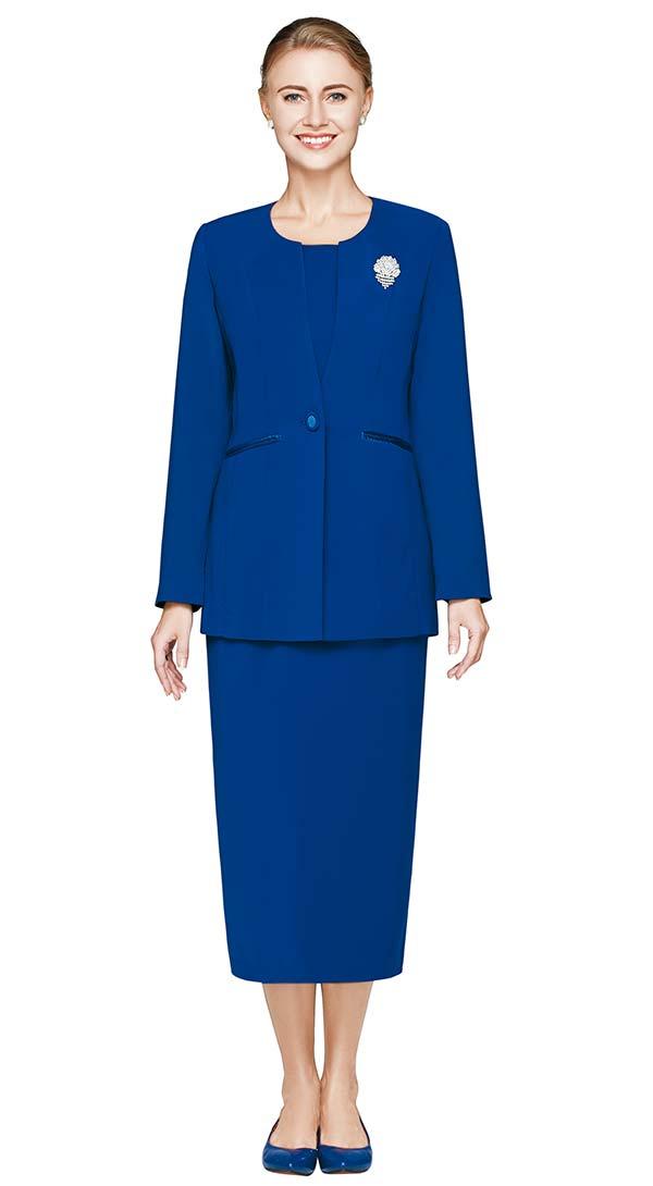 Nina Massini 3021-Royal - Three Piece One Button Basic Jewel Neckline Skirt Suit