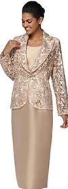 Nina Massini 3022 Womens Silky Twill Skirt Suit With Lace Peak Lapel Jacket