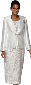 Nina Massini 3024 Lace Design Skirt Suit With Silky Twill Jacket