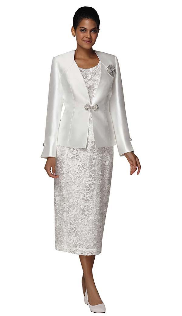 Nina Massini 3024 Lace Design Skirt Suit With Silky Twill Jacket