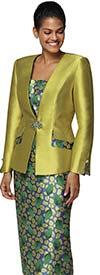 Nina Massini 3025 Silky Twill Skirt Suit With Leaf Print Design
