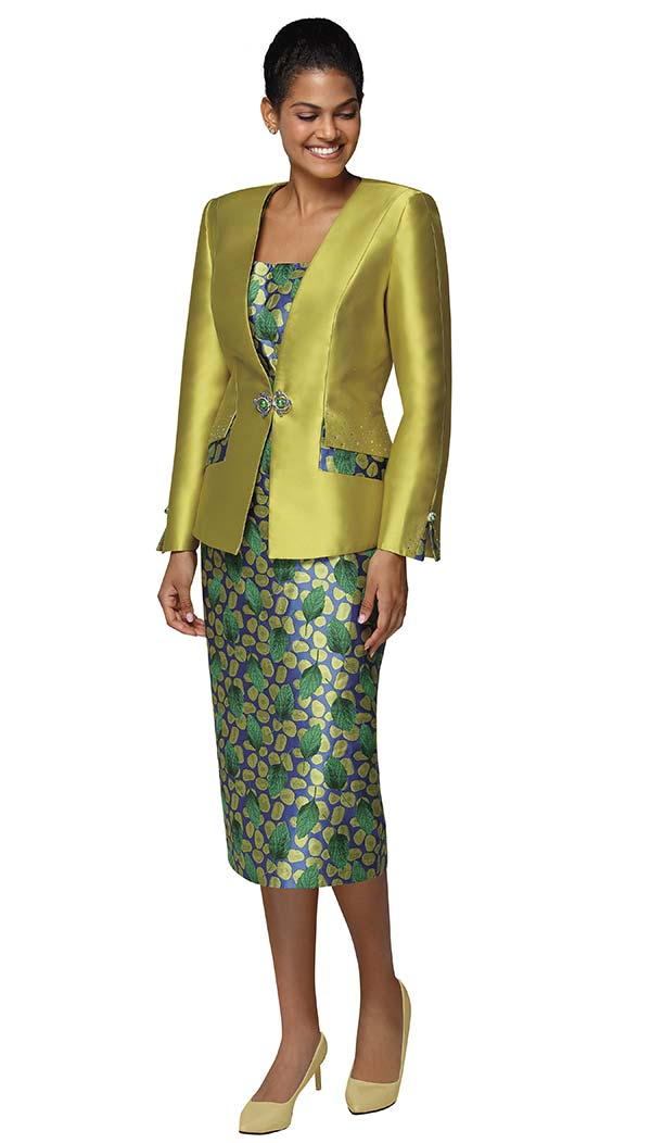 Nina Massini 3025 Silky Twill Skirt Suit With Leaf Print Design