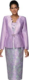 Nina Massini 3026 Multi Print Skirt Suit With Angle Cut Neckline Design Jacket