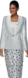 Nina Massini 3027 Womens Church Suit In Silky Twill Fabric With Printed Skirt & Camisole
