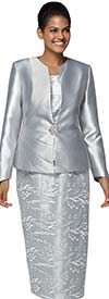 Nina Massini 3031 Lace Skirt Design Church Suit With Silky Twill Jacket