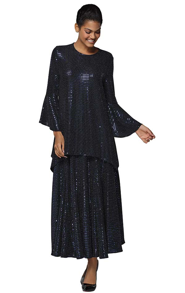 Nina Massini 3033 Womens Pleated Skirt Suit With Bell Sleeves