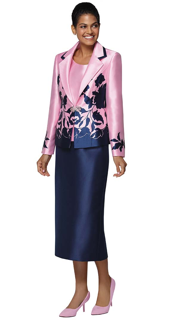 Nina Massini 3035 Womens Church Suit In Silky Twill Fabric With Floral Print Design