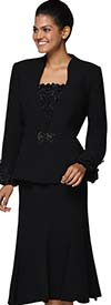 Nina Massini 3037 Ladies Skirt Suit With Ruffle Cuffs And Camisole