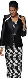 Nina Massini 3038 Womens Church Suit In Silky Twill Fabric With Cut-Out Print Design Skirt