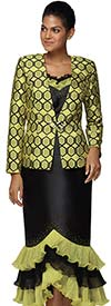Nina Massini 3039 Womens Church Suit In Silky Twill Fabric With Tiered Ruffle Flounce Skirt